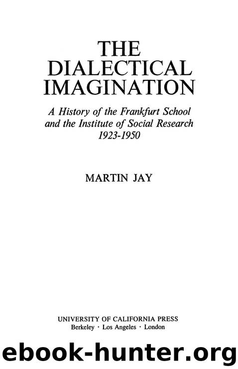 The Dialectical Imagination by Jay Martin