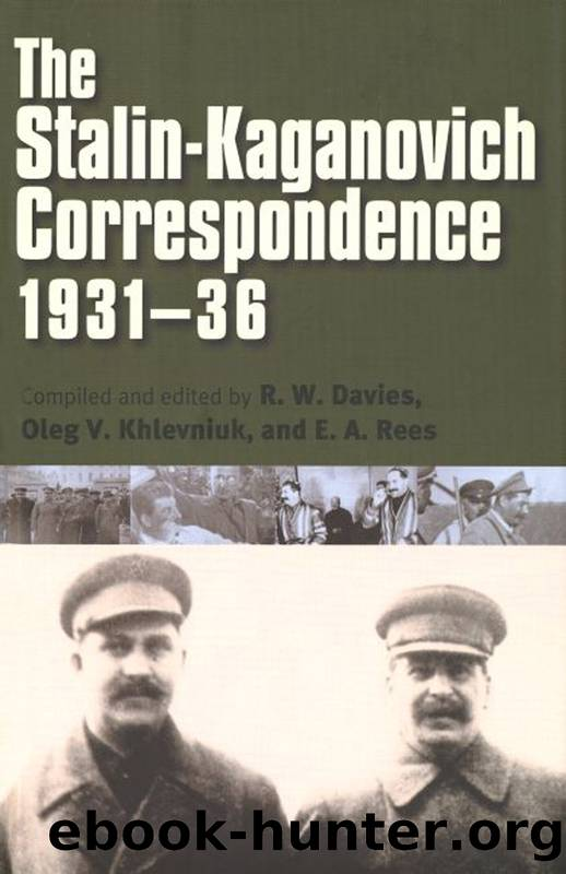 The Stalin-Kaganovich Correspondence, 1931-36 by unknow